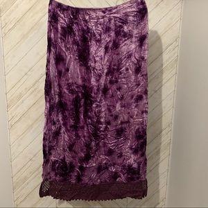 Funky People Purple Tie-Dye Velvet Maxi Skirt